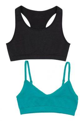 Girls Cotton Seamless Everyday Sports Bra 2-Pack