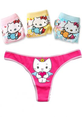 Angel Cat Sugar Cartoon Printed Thong 3-Pk