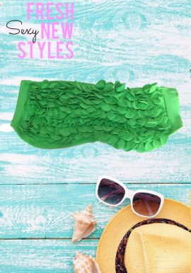 Leonado Green Frilled Bandeau Bikini Top
