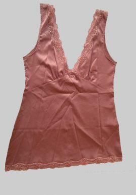 D&G Pink Deep V-Neck Lace Trim Camisole
