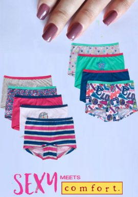Girl's Organic Cotton Boyshort Panties Pack- 9