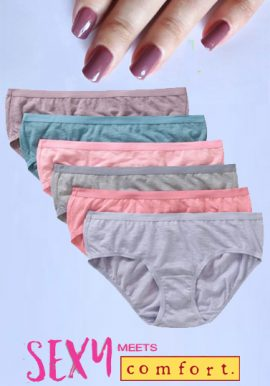Soft Cotton Stretch Waistband Hipsters Pk-6