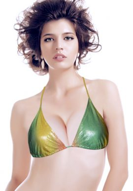Beyond Green Yellow Sparkling Halter Bikini Top