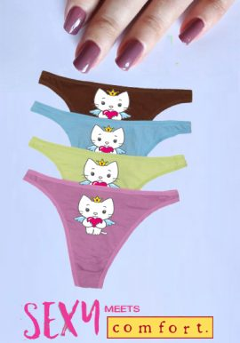 Angel Cat Sugar Breathable Cotton Printed Thong 4-Pk