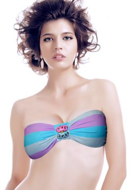 Wide Stripe Front Button Bandeau Strapless Bra