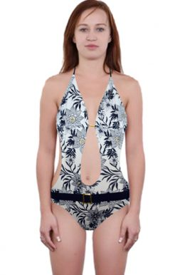 Black White Tropical Print Plunging One Piece Swimsuit