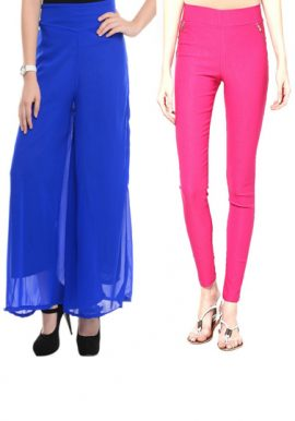 Blue Palazzo And Magenta Jegging Combo Pack