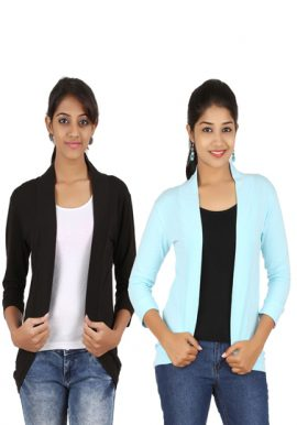 Pack Of 2- Black And Aqua Blue 34 Sleeves Shrug