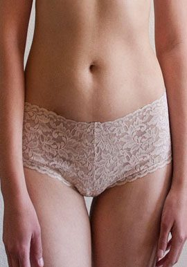 Plus Size Beige Coloured Lace Transparent Boyshort Panty