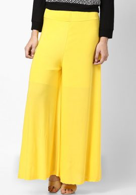 Snazzyway- Wide Airy Lime Yellow Palazzo Bottom