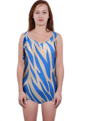 Blue Zebra Print Built-in Bra Padded Swimwear