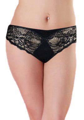 Sylvahahn Moden Black Elegant Lace Bikini Bottom