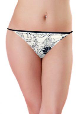 Black Floral Printed Side String Tie Bikini Bottom