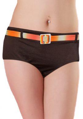 Brown Orange Shaded Belt Boyshort Panty