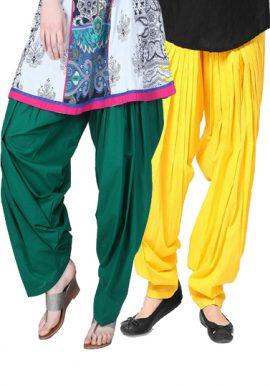Green Yellow Full Pleated Patiala Salwar Bottom