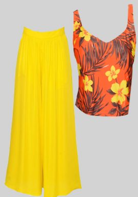 Floral Orange Crop Top With Yellow Palazzo