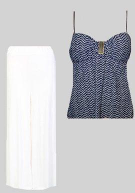 Trendy Zig-Zag Crop Top And White Palazzo Bottom