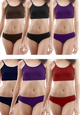 Wholesale Lot 6 Cotton Sports Bra Panty Sets