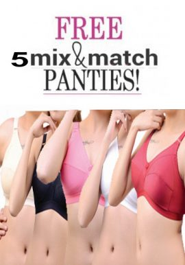 5 Full Coverage Cotton Bra Free Mix N Match Panties