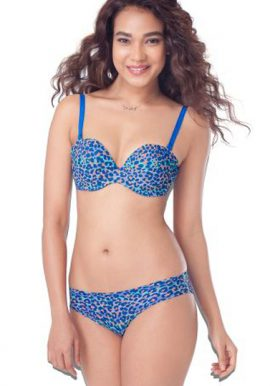 Blue Leo Print Push-Up Bra Low Rise Bikini Set