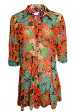 Gae Woo Floral Print 34th Sleeve Casual Multicolor Shirt