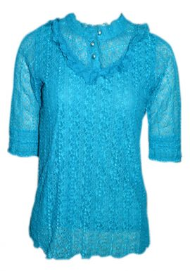 Ssereree Casual Stretch Sky Blue Net Lace Fashion Top