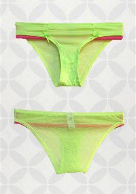 Victorias Secret Sexy Lace Back Neon Lemon Color Panty
