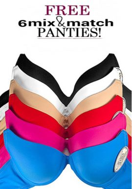 Wholesale Lot Of 6 Colorful Pushup Bras With Mix & Match Panties