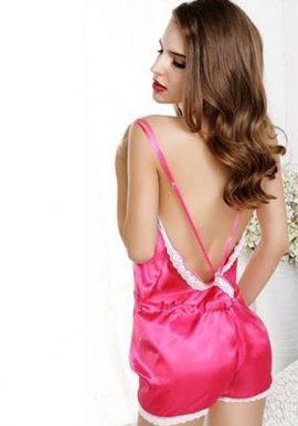 New Gorgeous Pink 1 Piece Sexy Backless Nightwear
