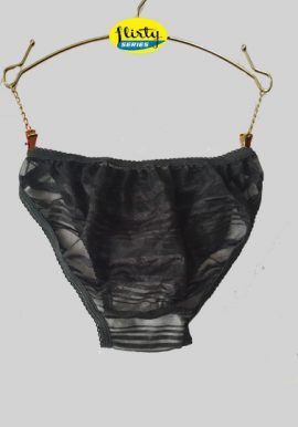 Sexy Black Stripes Sheer Mesh Transparent Panty