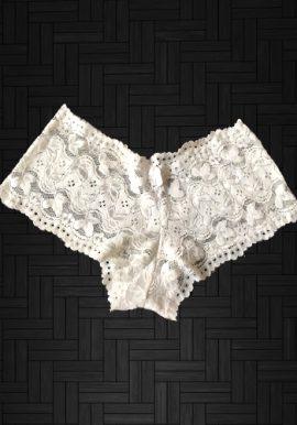 Sexy White Floral Lace Boyleg Panty