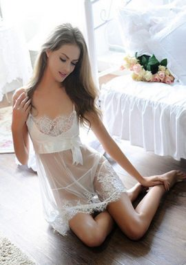 Snazzyway Lovely White Lace Embroidery Transparent Babydoll