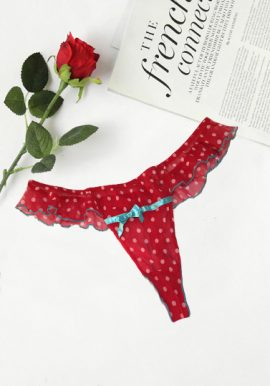 Ann Summers Net Lace Frill Polka Dot Red Thong