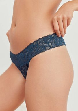 Forever 21 Blue Erotic Lace Trim Thong