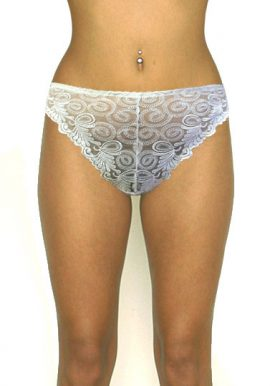 Cannelle White Embellished Front Bridal Thong Panty
