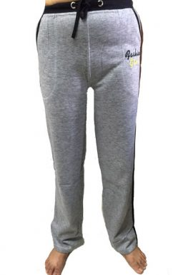 Fashion Girl Grey Stretch Cotton Fit Track Pant