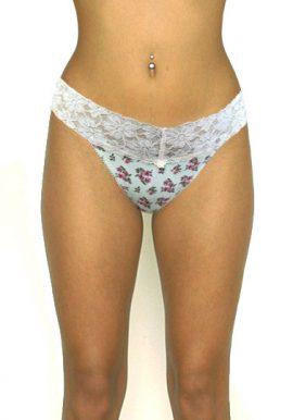 No Secret Pretty Floral Print Lace Thong Panty