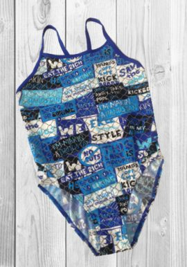 Funkita Girl's Blue Back Cut Printed One-Piece Swimsuit