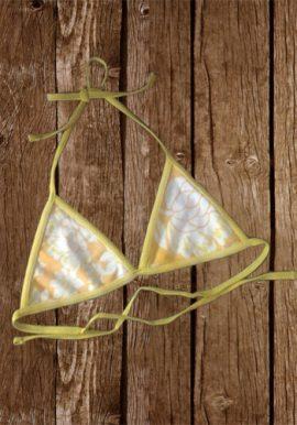 Kiabi Yellow Flower Print Triangle Halter Bikini Top