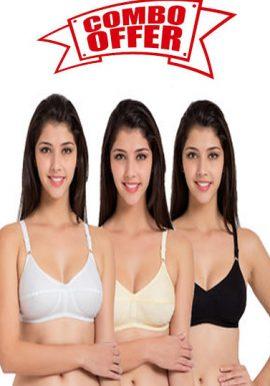 Daily wear Comfortable white cotton bra ( Pk Of 3)