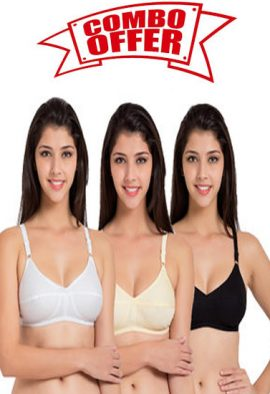 Daily wear Comfortable white cotton bra ( Pk Of 3)