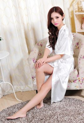 Crepe White Robe With Free Thong Panty