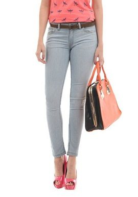 Greyish Slim Jeans With Belt|buy|