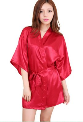 Hot Red Crepe Robe With Free Thong Panty