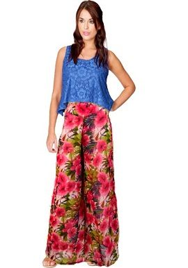 Mario Red Floral Print Palazzo Pant|buy|online|