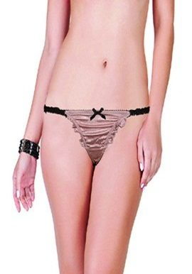 Pinkish Black Bow Lace Thong |buy|shop|online|India|