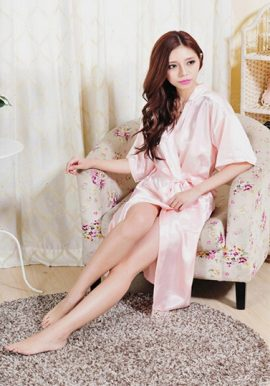 Soft Baby Pink Crepe Robe With Free Thong Panty