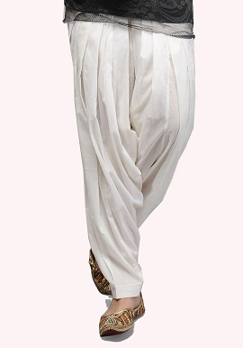 White Full Cotton Patiala Salwar|buy|online|bottom|