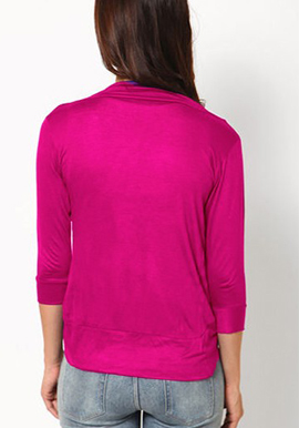 Solid Pink fashion fit 3/4 sleeves shrug  snazzyway.com
