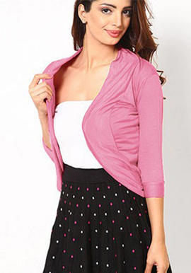 Stylish Pink 3/4 sleeves shrug snazzyway.com